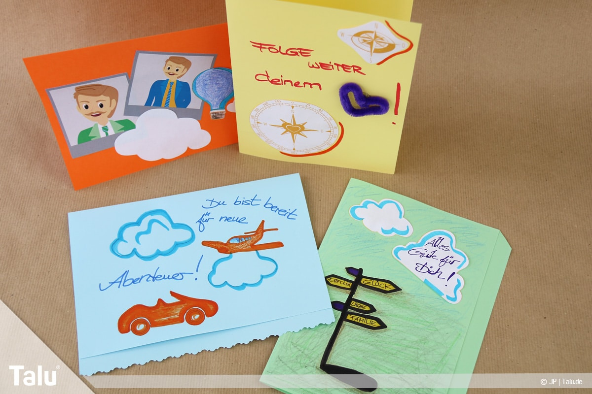 Abschiedskarten für Kollegen basteln, Anleitung mit Vorlagen, gebastelte Karten