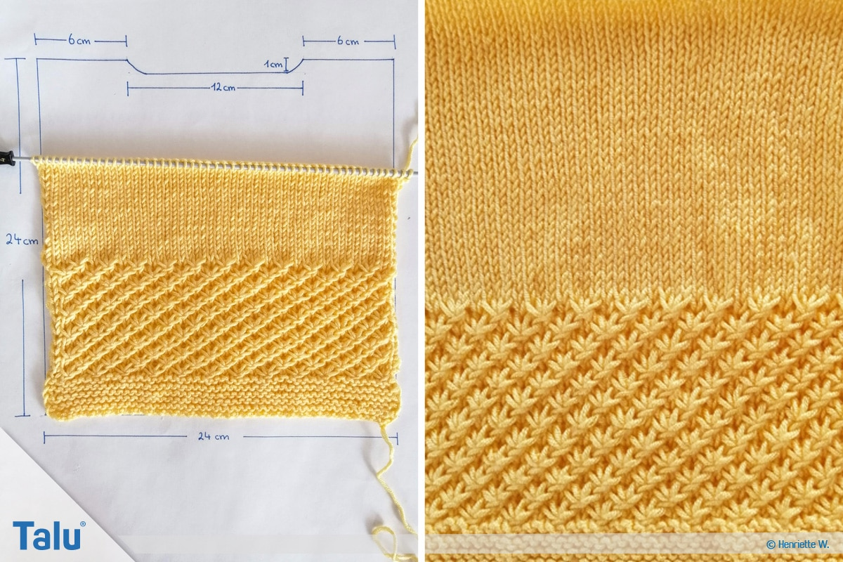 Babyjacke stricken, Anleitung Größe 56/62, Rückenteil weiterarbeiten