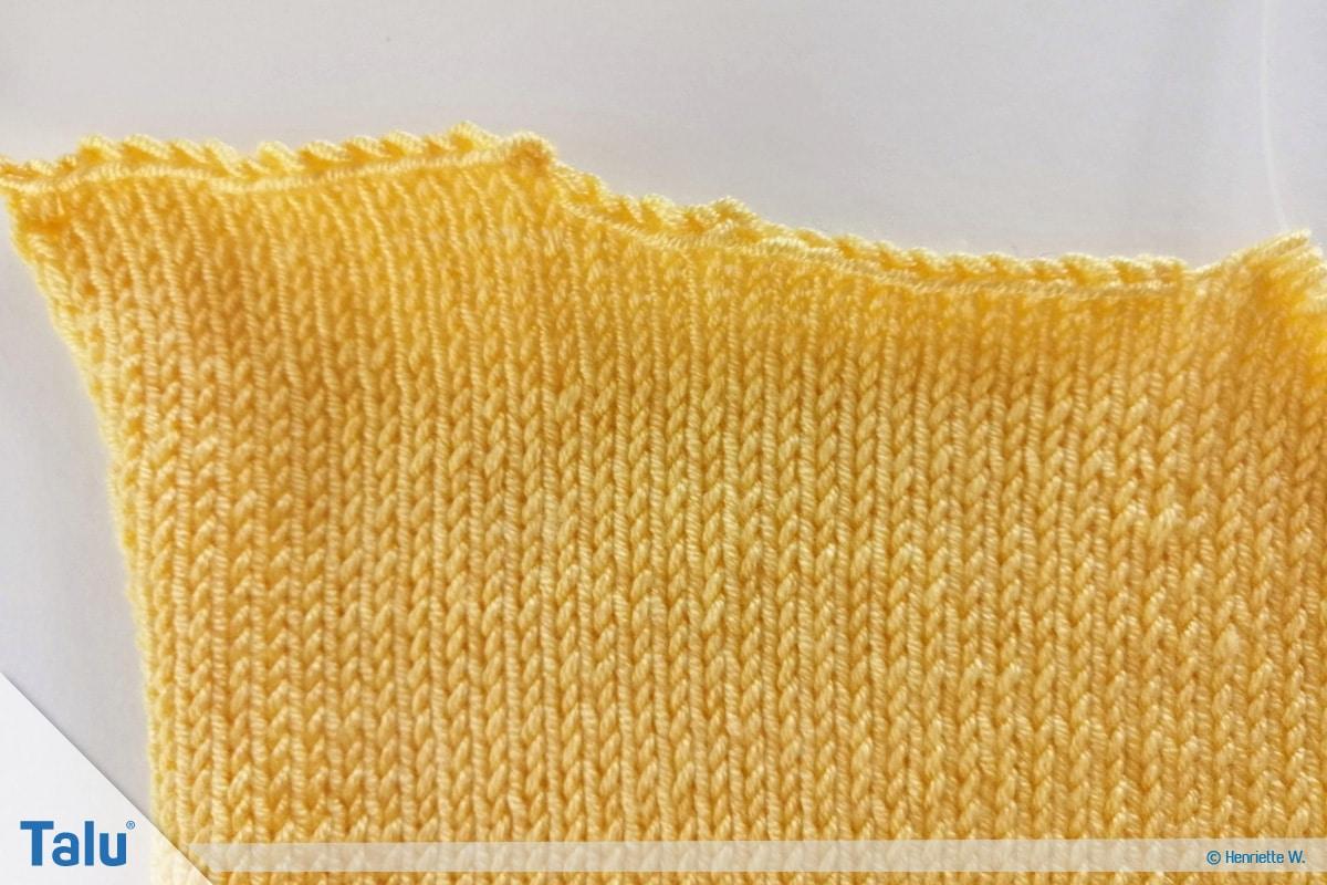 Babyjacke stricken, Anleitung Größe 56/62, abgekettete Maschen am Rückenteil