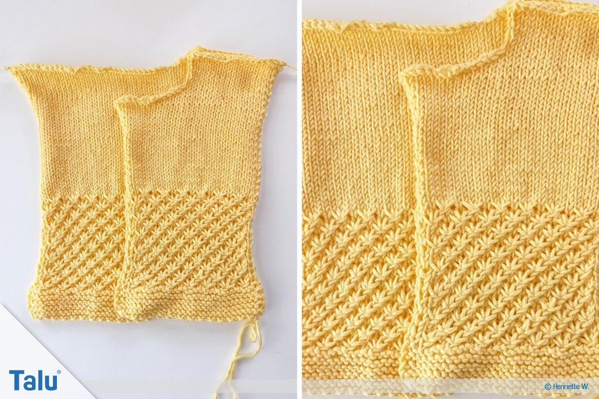 Babyjacke stricken, Anleitung Größe 56/62, linkes Vorderteil, Maschen anschlagen