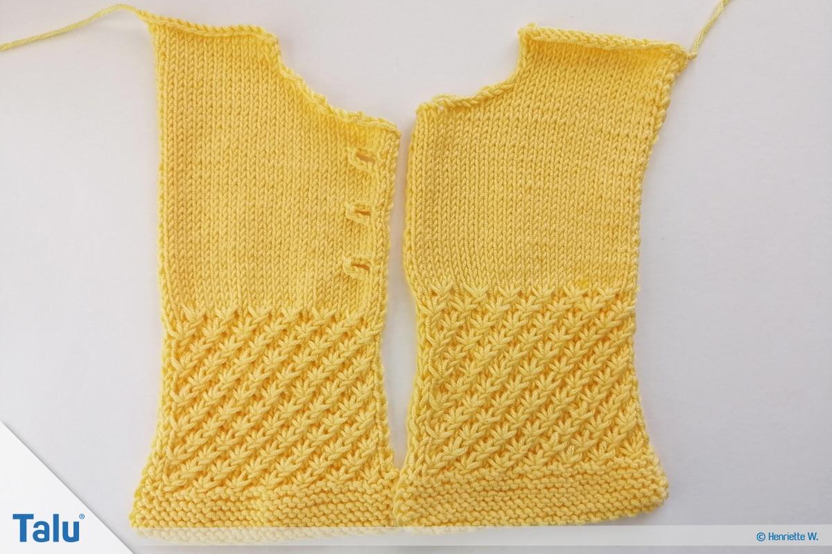 Babyjacke stricken, Anleitung Größe 56/62, rechtes Vorderteil stricken