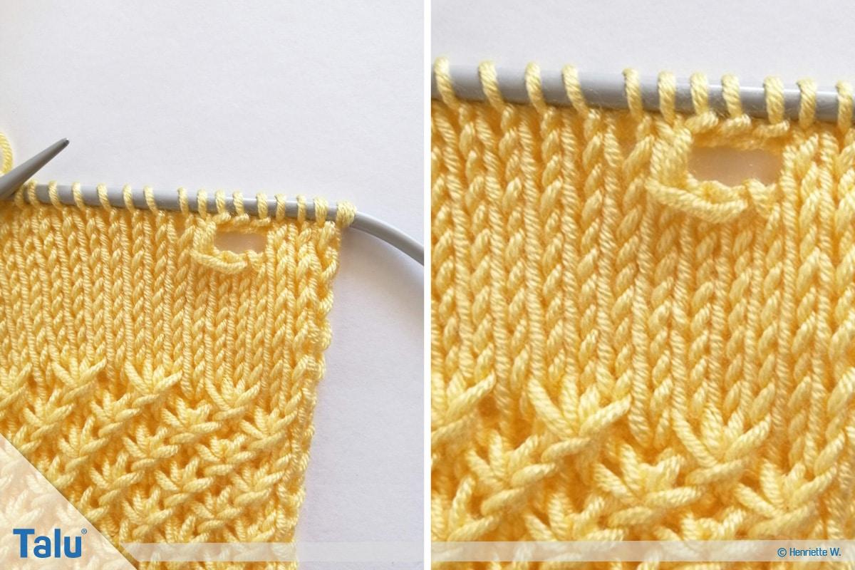 Babyjacke stricken, Anleitung Größe 56/62, Knopfloch fertigen