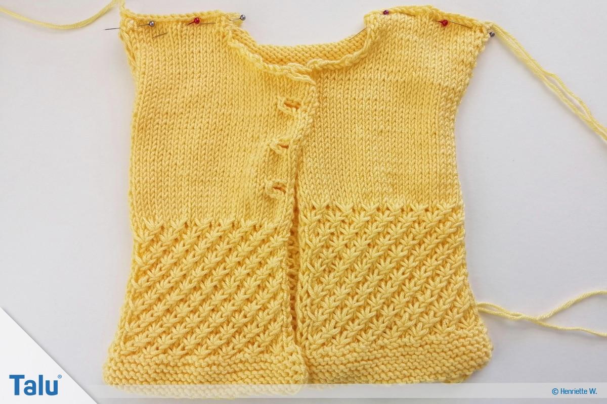 Babyjacke stricken, Anleitung Größe 56/62, Einzelteile der Babyjacke feststecken