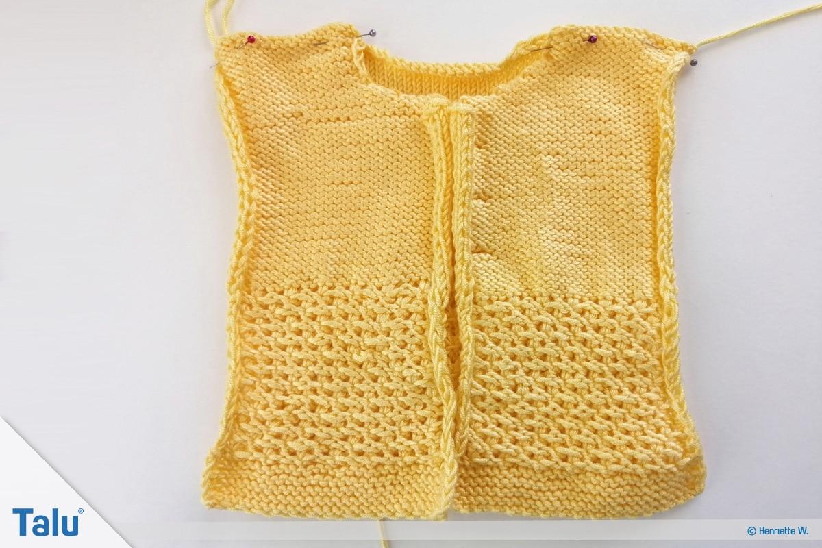 Babyjacke stricken, Anleitung Größe 56/62, das Zusammennähen