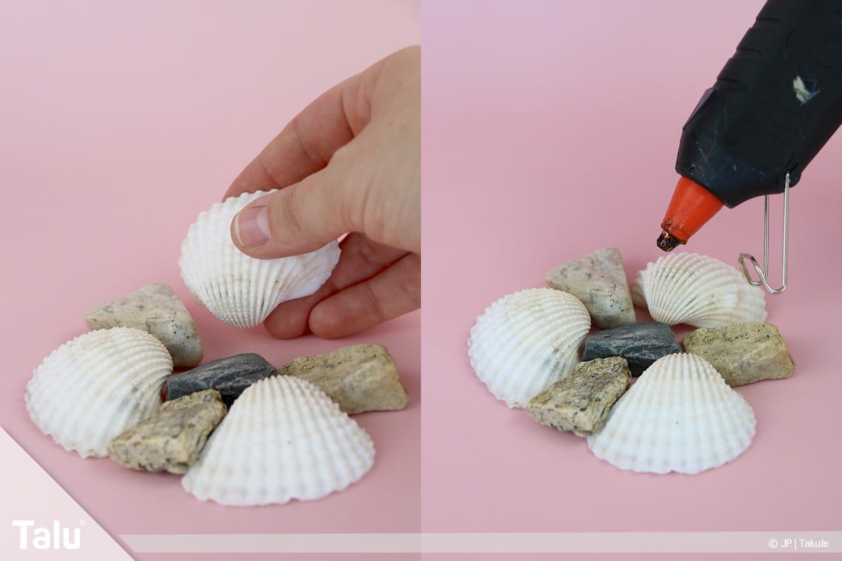 Basteln mit Steinen und Muscheln, Ideen, Kerzenständer, Steine und Muscheln zusammenkleben