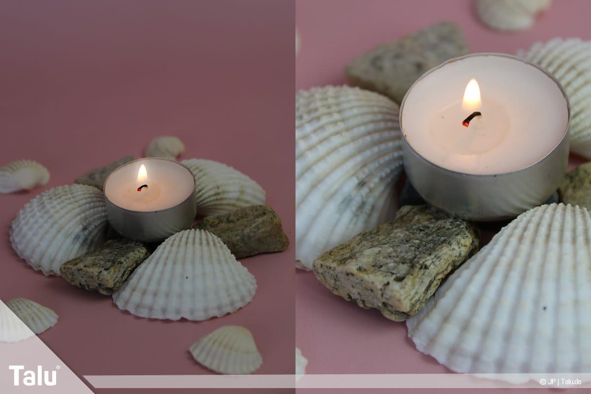 Basteln mit Steinen und Muscheln, Ideen, fertig gebastelter Kerzenständer