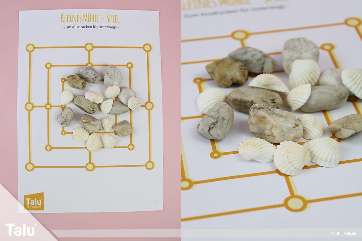 Basteln mit Steinen und Muscheln, Ideen, Mühle-Spiel, Druckvorlage Talu
