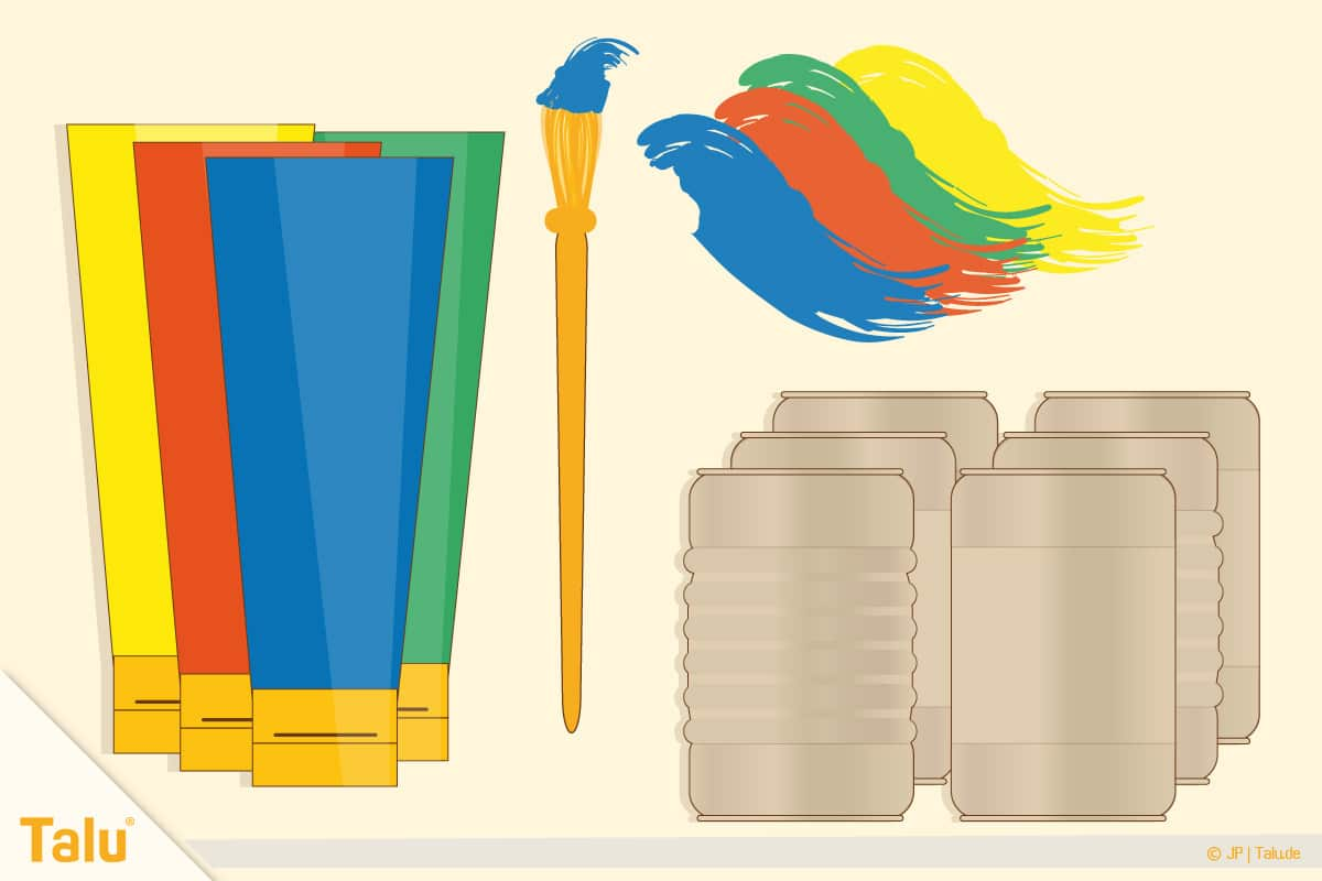 Dosenwerfen selber basteln, Anleitung, Acrylfarbe