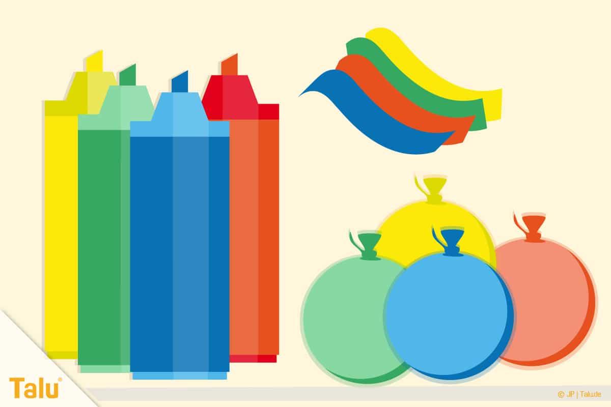 Dosenwerfen selber basteln, Anleitung, Ballons beschriften