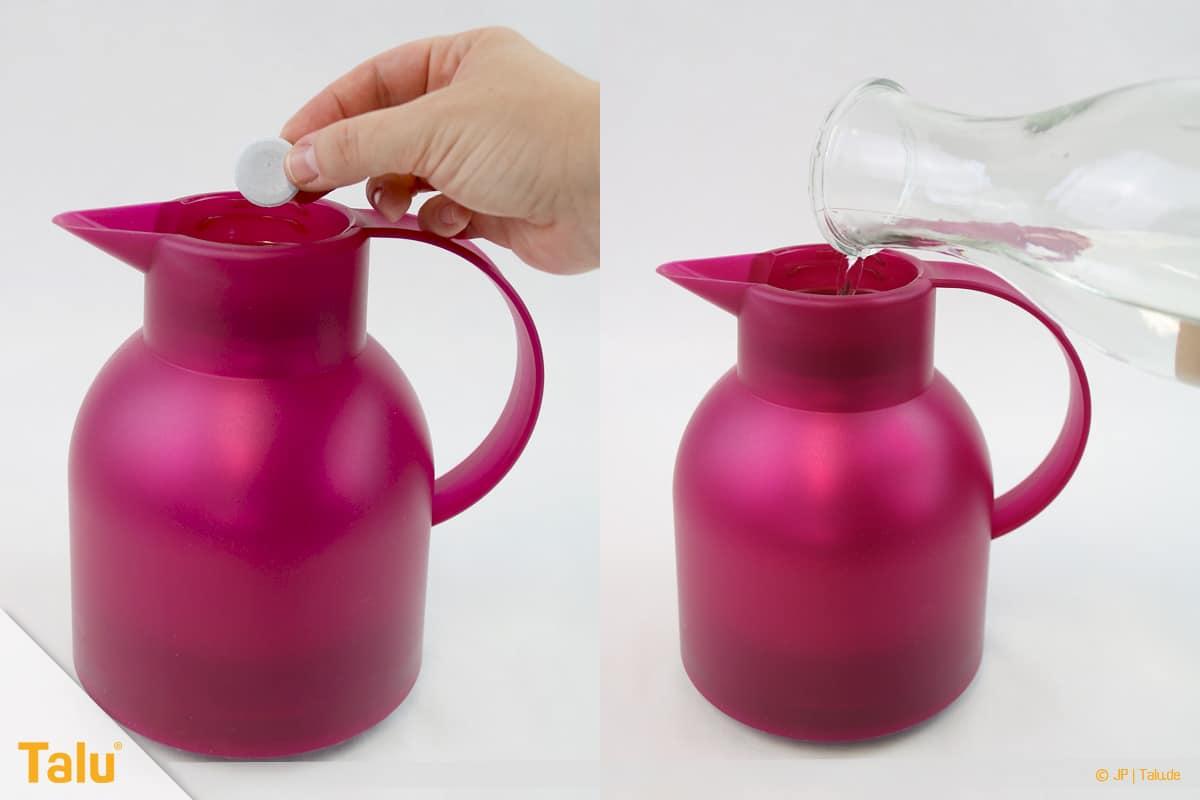 Kaffeegeruch aus Thermoskanne entfernen, Wasser zum Gebissreiniger-Tab in Kanne geben
