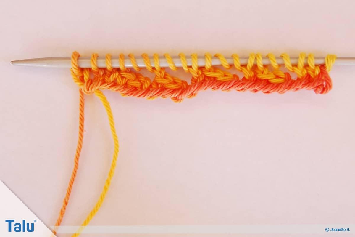 Netzmuster stricken, Fischernetz, Netzmuster Eins, Beginn