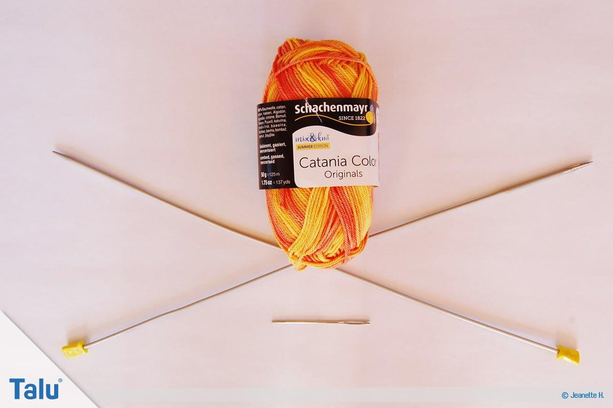 Netzmuster stricken, Fischernetz, Stirnband stricken, Material