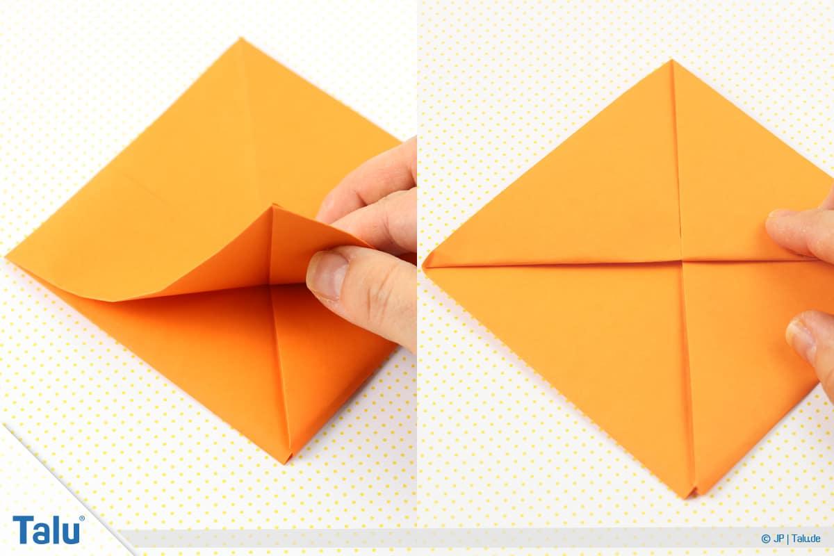 Origami Boot, Schiff basteln, drittes Schiffchen, untere Ecke auf Obere falten