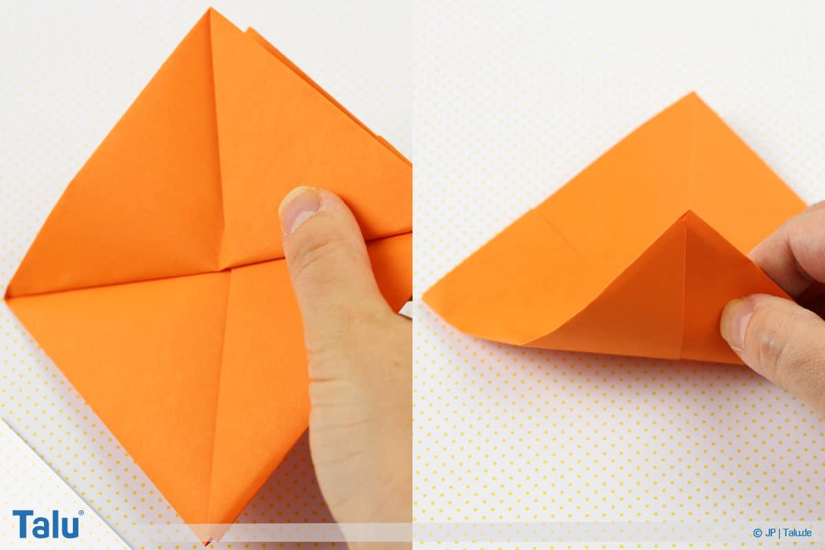Origami Boot, Schiff basteln, drittes Schiffchen, Faltarbeit auf die andere Seite wenden