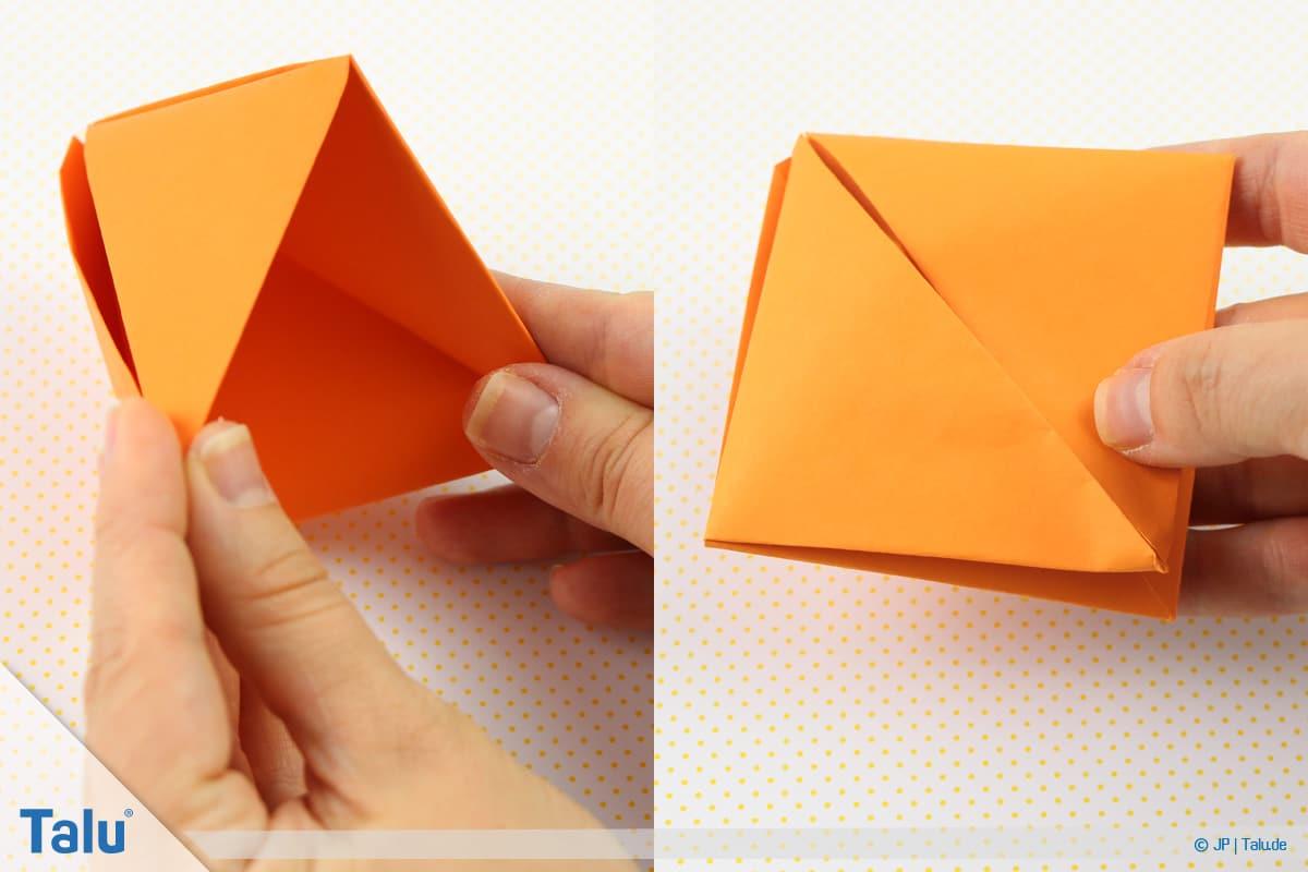 Origami Boot, Schiff basteln, drittes Schiffchen, weiteres entstandenes Faltergebnis