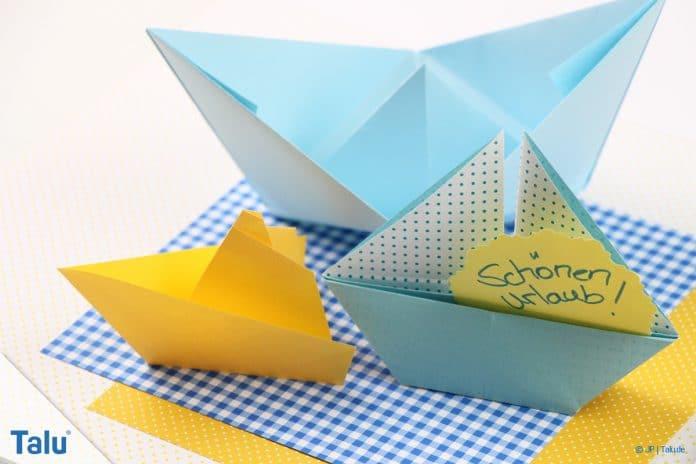 Origami Boot, Schiff basteln, einfaches Schiffchen falten