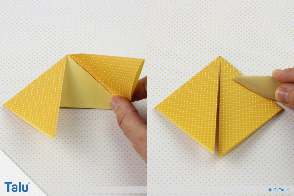 Origami Boot, Schiff basteln, zweites Schiffchen, rechte Ecke ebenso nach unten falten