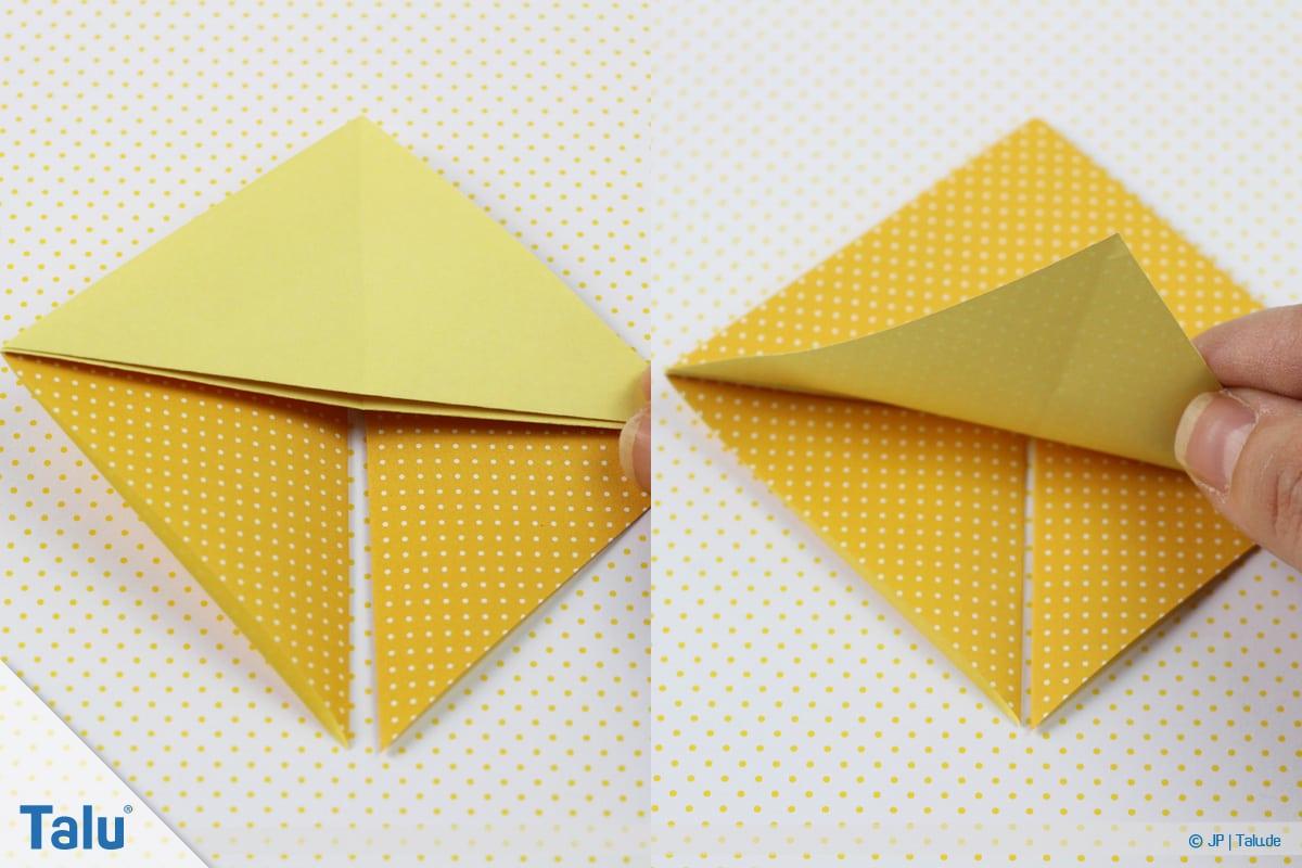 Origami Boot, Schiff basteln, zweites Schiffchen, Faltarbeit auf andere Seite wenden