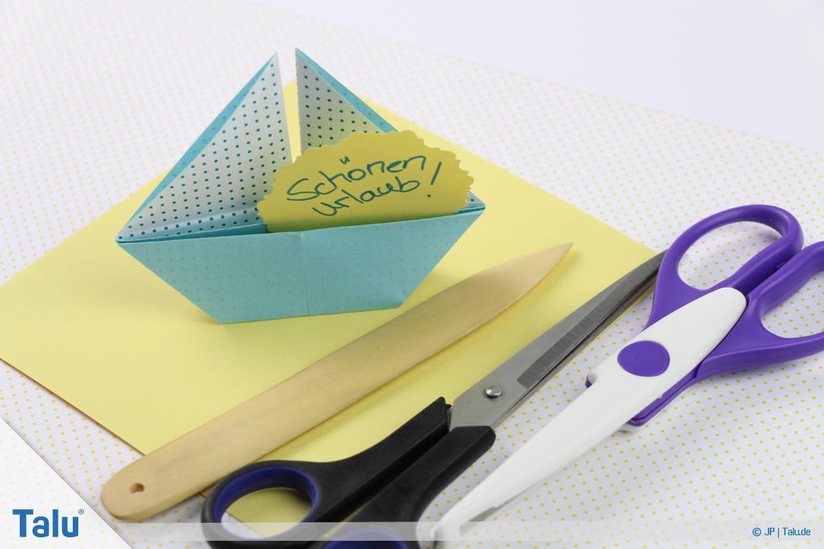 Origami Boot, Schiff basteln, zweites Schiffchen, Material