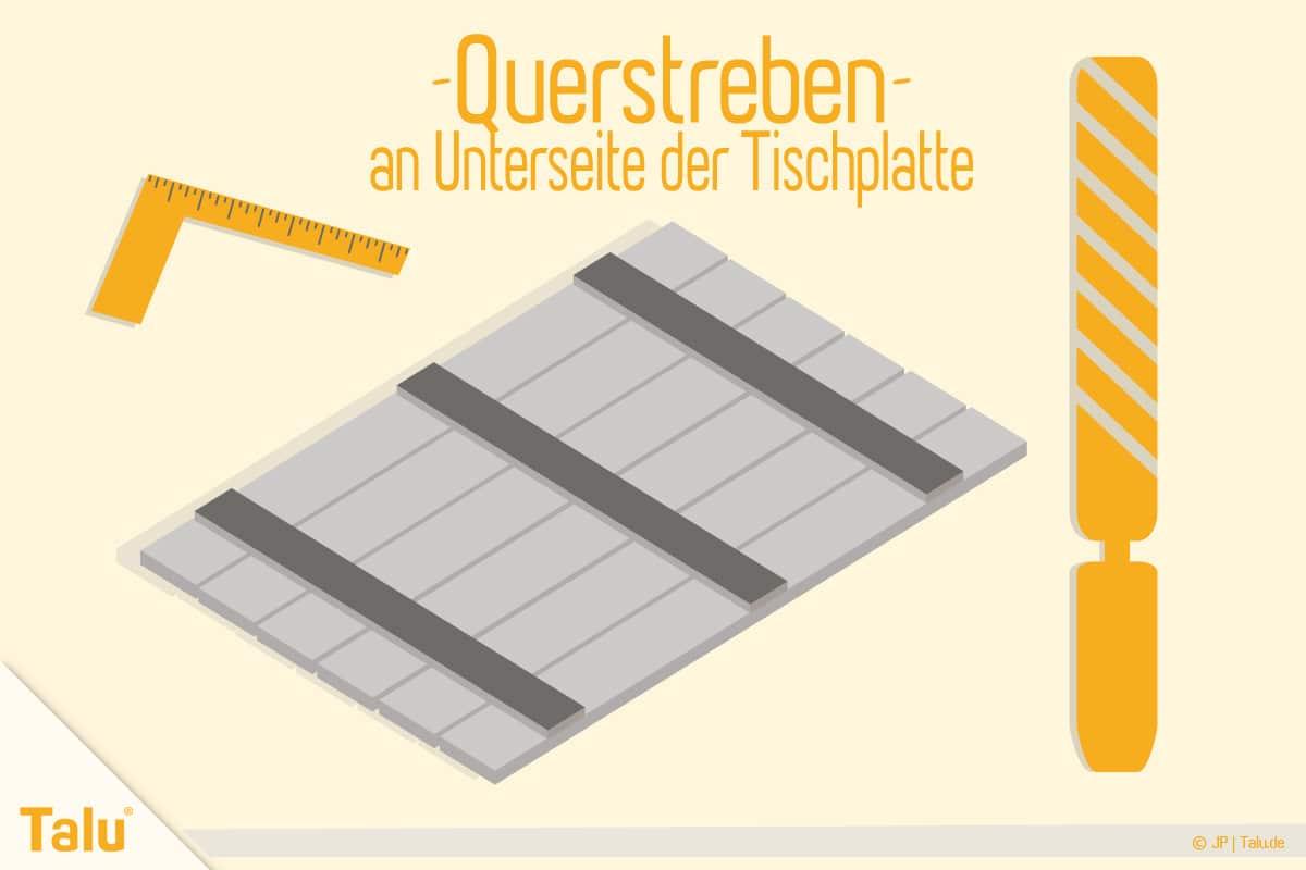 Picknicktisch selber bauen, Bauanleitung, Querstreben für die Tischplatten-Unterseite