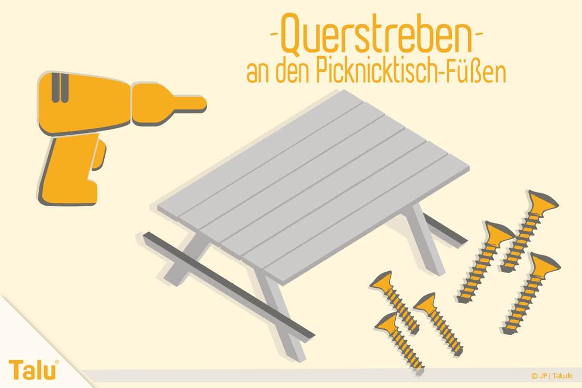 Picknicktisch selber bauen, Bauanleitung, Tischfüße montieren