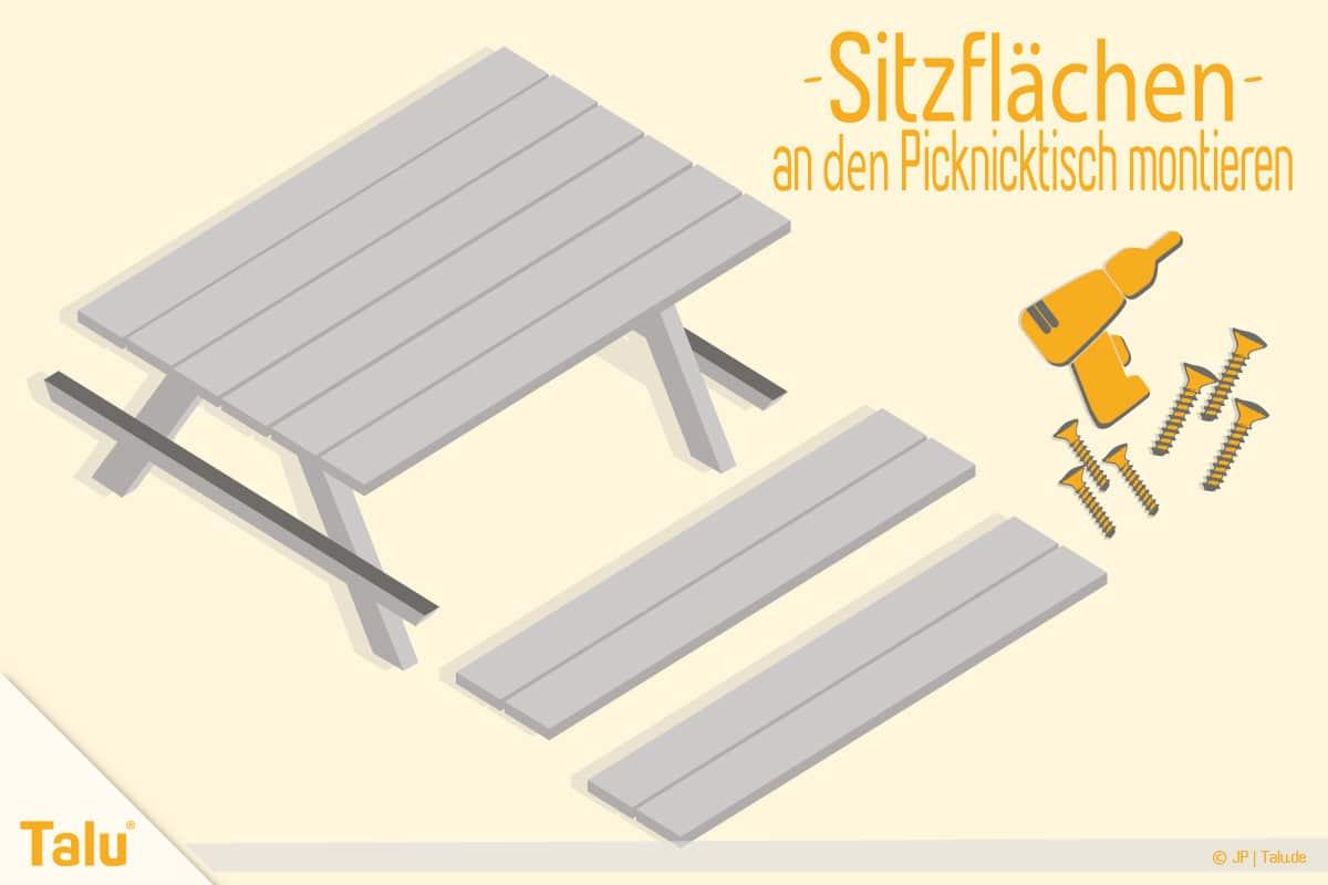 Picknicktisch selber bauen, Bauanleitung, Sitzflächen montieren