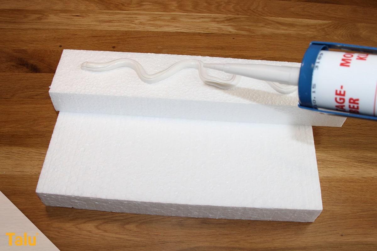 Styroporplatten kleben, Anleitung, Montagekleber (im Bild) anstatt Polyurethanschaum (PU)