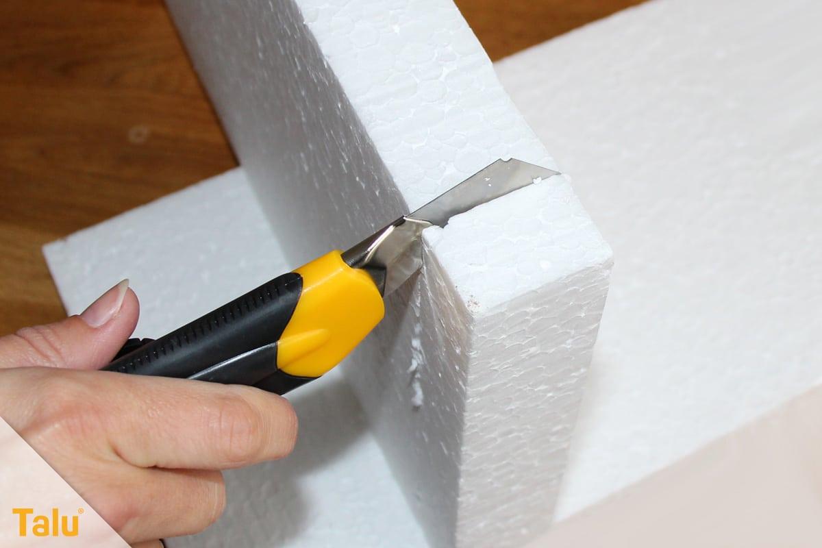 Styroporplatten kleben, Anleitung, Styropor schneiden