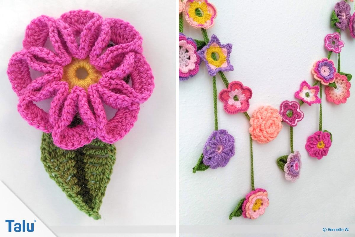 Blumenkette häkeln, Anleitung Blumengirlande, fertig gehäkelte Häkelblumenkette