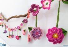 Blumenkette häkeln, kostenlose Anleitung für Blumengirlande