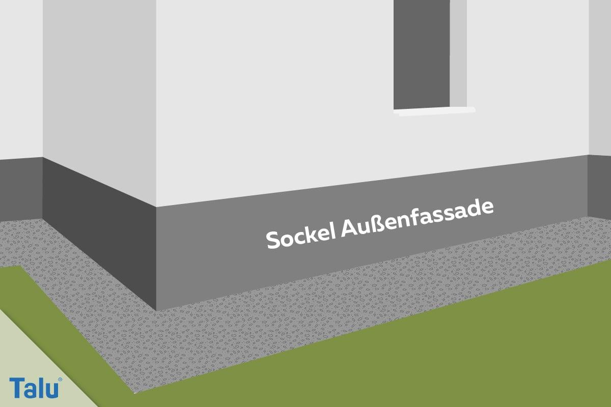 Dichtschlämme auftragen, Anleitung, Sockel der Außenfassade