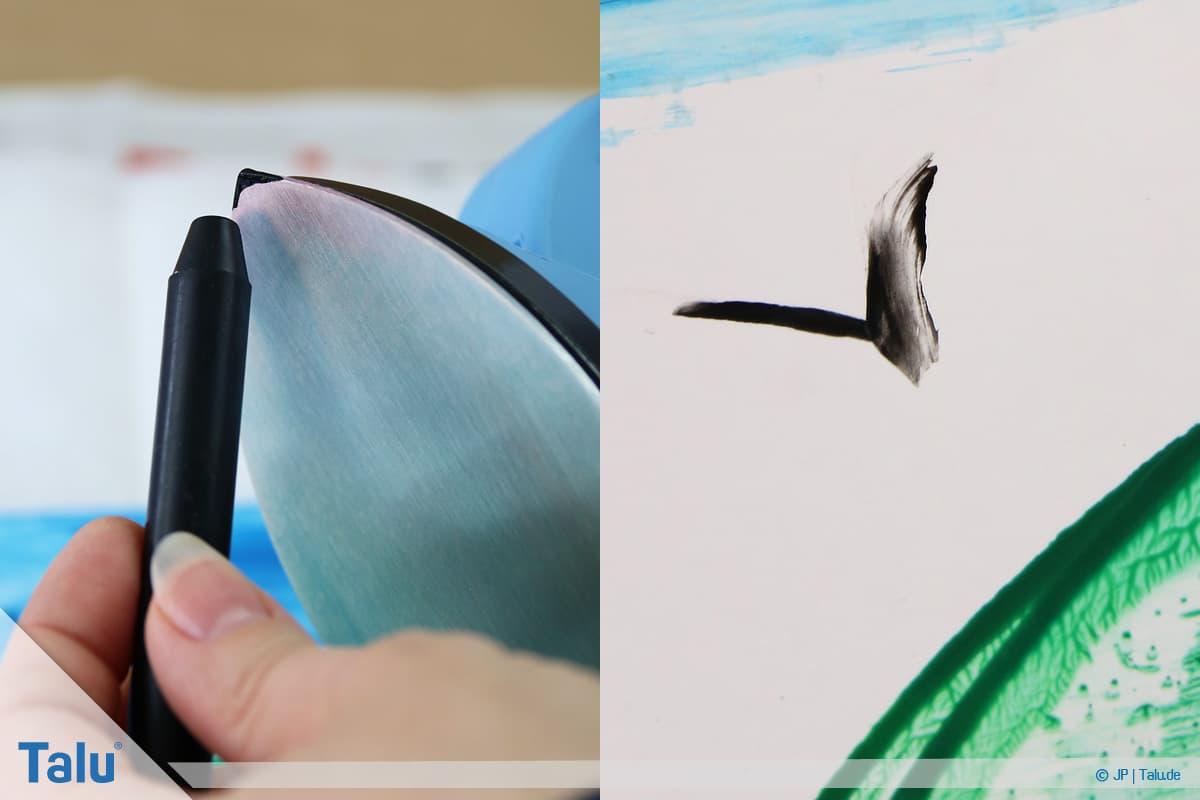 Enkaustik, Anleitung Wachs-Malerei, mit Maleisen-Spitze Möwe zeichnen