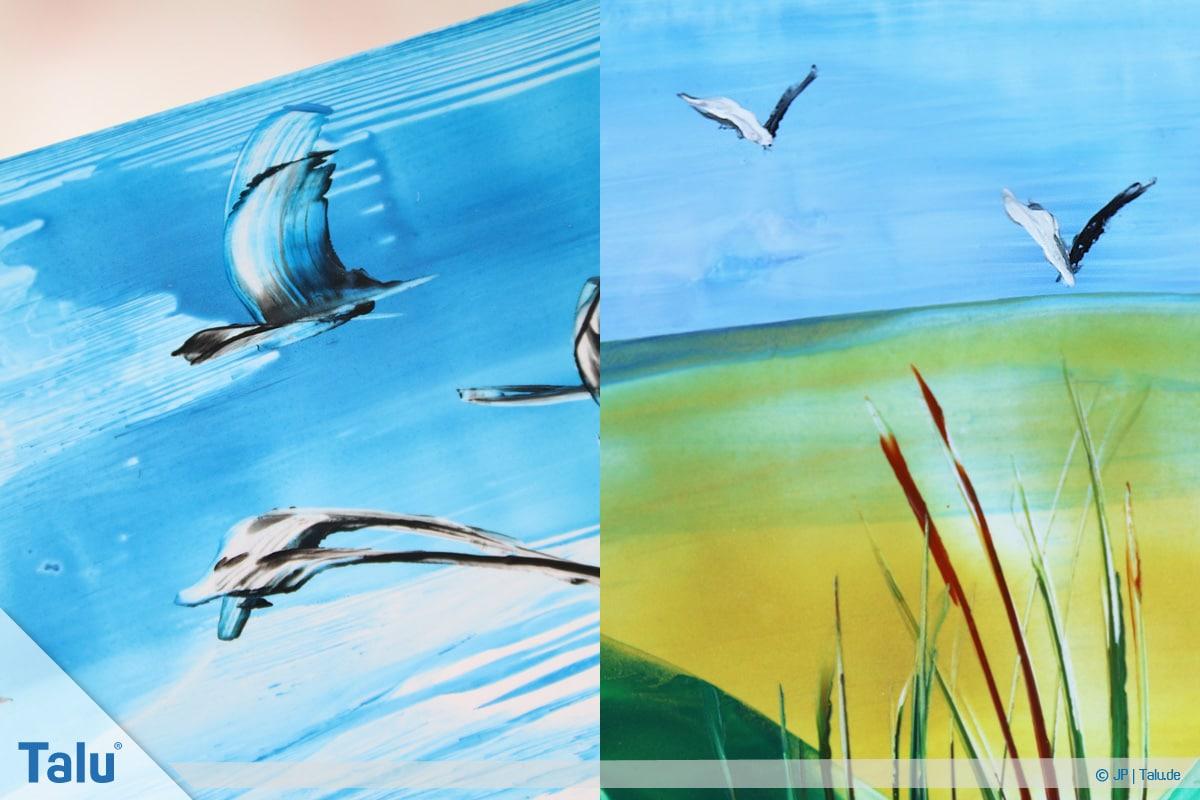 Enkaustik, Anleitung Wachs-Malerei, gemalte Zugvögel