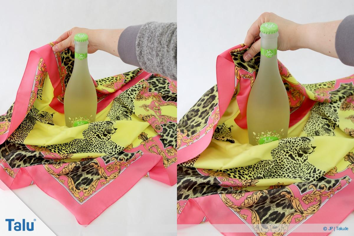 Furoshiki, Geschenke mit Stoff, Tüchern verpacken, Variante 3, einen Teil des Tuches raffen