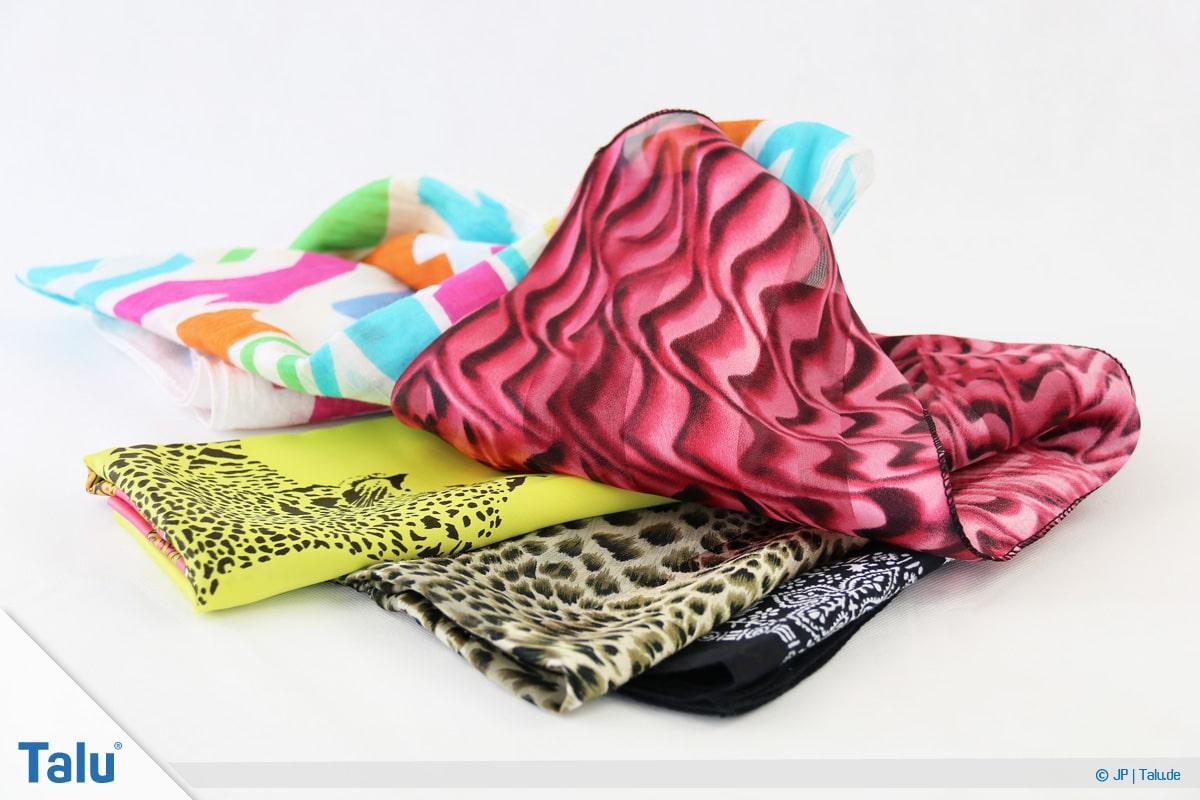Furoshiki, Geschenke mit Stoff, Tüchern verpacken, unterschiedliche Tücher und Stoffe