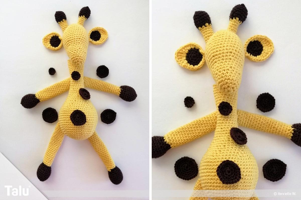 Giraffe häkeln, Amigurumi-Häkelgiraffe, Kopf der Giraffe häkeln