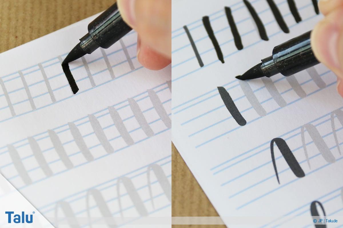 Handlettering lernen, Anleitung mit Übungsblättern, Aufwärts- und Abwärtsstriche üben