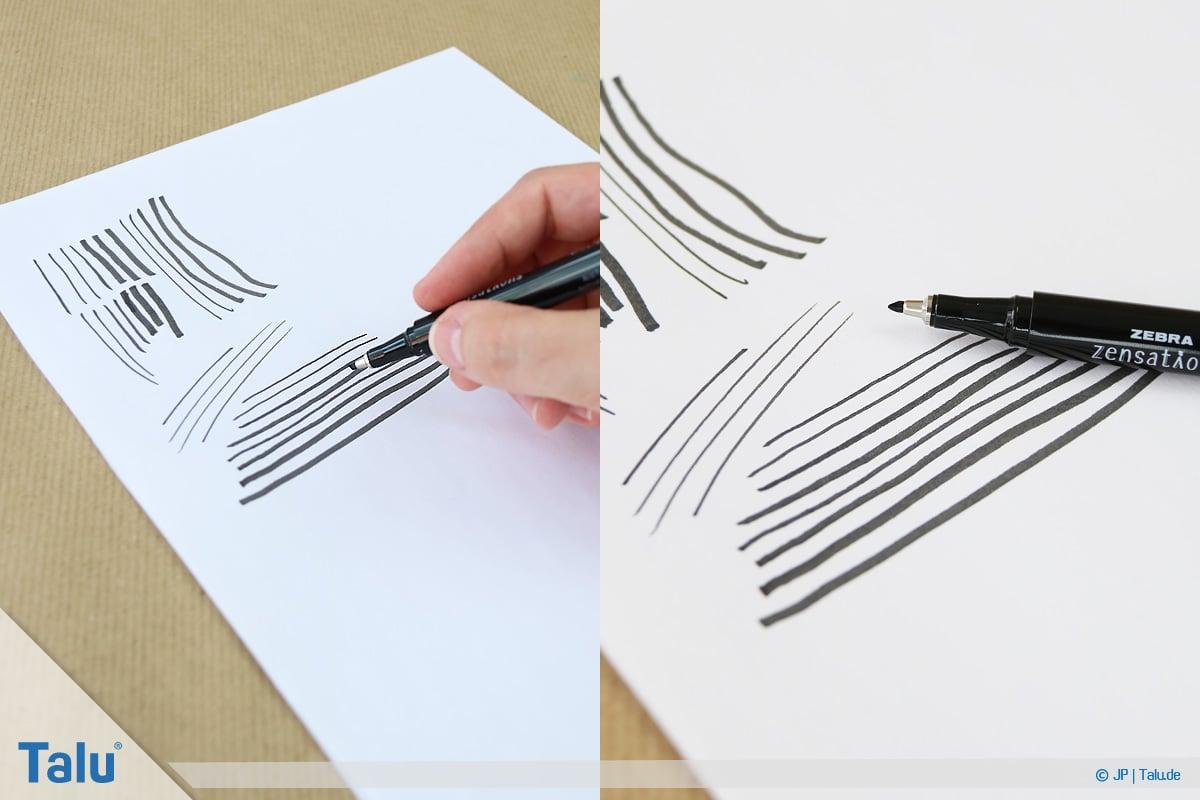 Handlettering lernen, Anleitung mit Übungsblättern, Linien ziehen