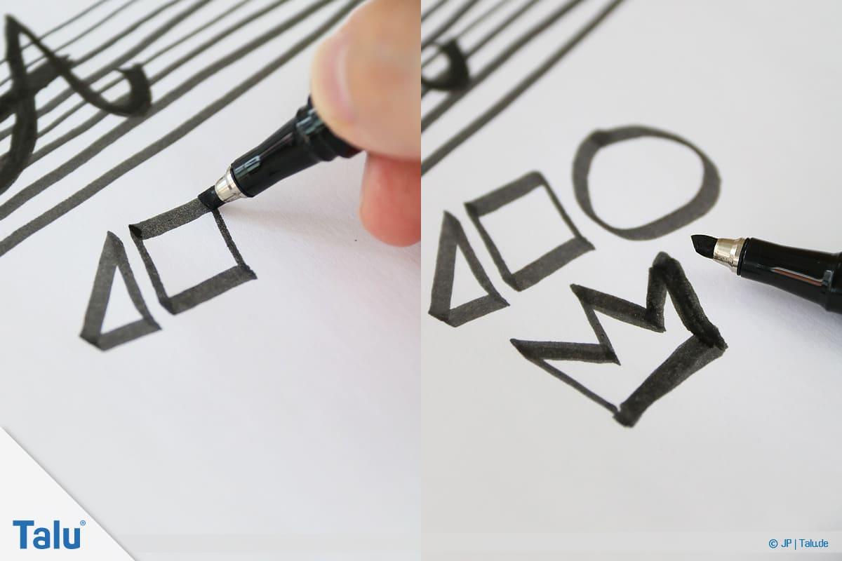 Handlettering lernen, Anleitung mit Übungsblättern, Formen zeichnen austesten