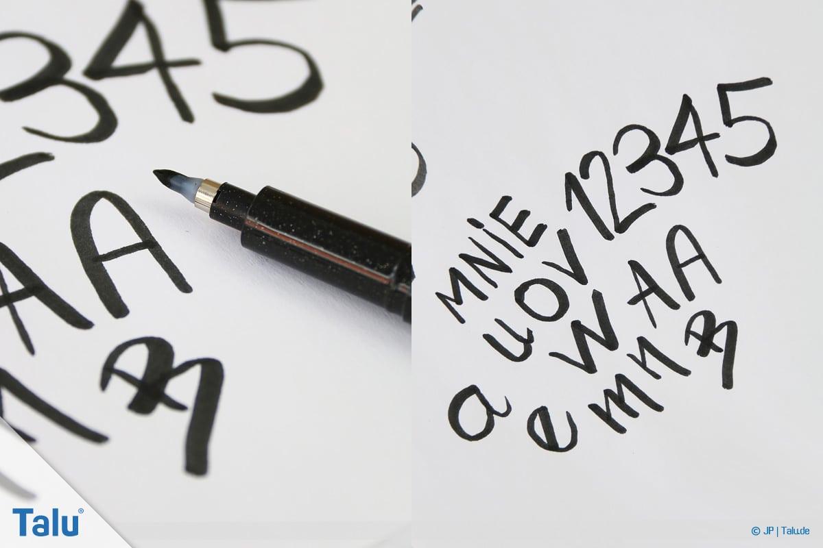 Handlettering lernen, Anleitung mit Übungsblättern, Buchstaben und Zahlen austesten