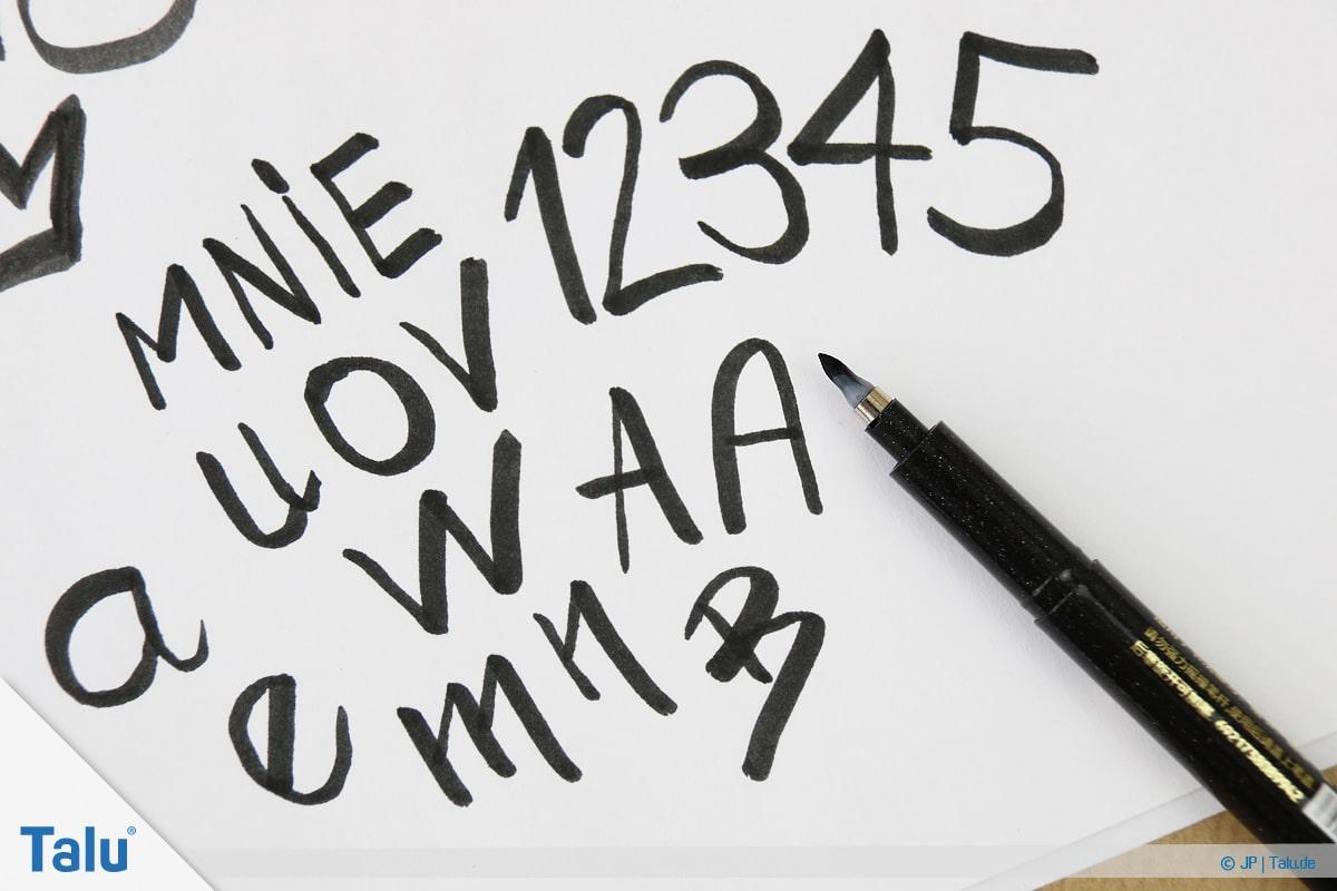 Handlettering lernen, Anleitung mit Übungsblättern, Zahlen und Buchstaben schreiben