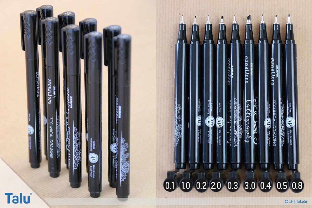 Handlettering lernen, Anleitung mit Übungsblättern, unterschiedliche Stiftspitzen-Durchmesser