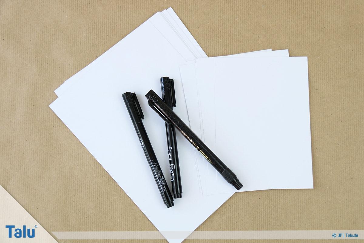 Handlettering lernen, Anleitung mit Übungsblättern, geeignetes Papier
