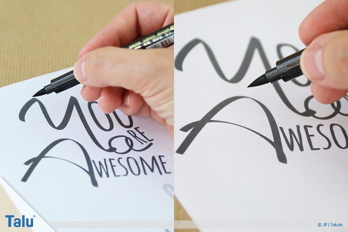 Handlettering lernen, Anleitung mit Übungsblättern, auch Brushlettering genannt