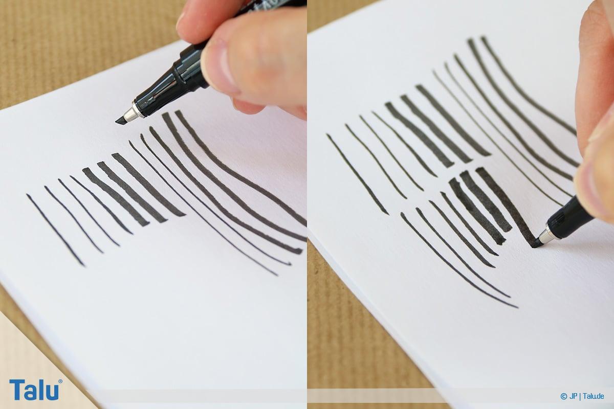 Handlettering lernen, Anleitung mit Übungsblättern, Linien zeichnen