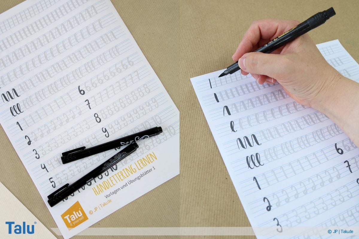 Handlettering lernen, Anleitung mit Übungsblättern, Talu-Handlettering-Vorlagen