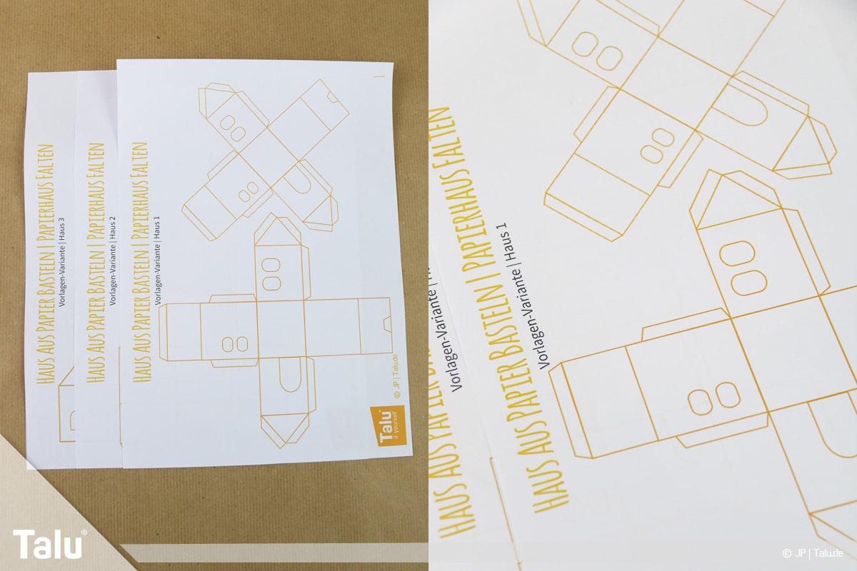Haus aus Papier basteln, Papierhaus falten, Talu-Druckvorlagen