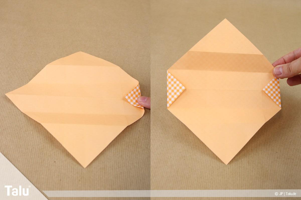Haus aus Papier basteln, Papierhaus falten, Dreieck nach innen falten