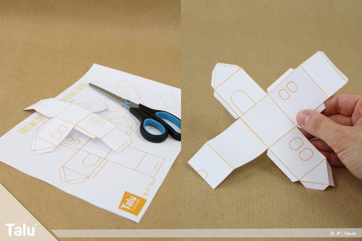 Haus aus Papier basteln, Papierhaus falten, Haus-Vorlage ausdrucken und ausschneiden
