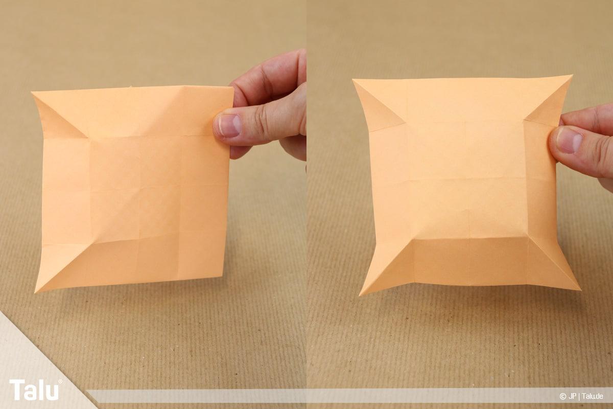 Haus aus Papier basteln, Papierhaus falten, nächstes Faltergebnis
